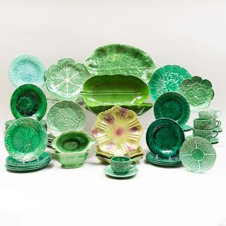 Assembled Group of Green Glazed Majolica Tableware