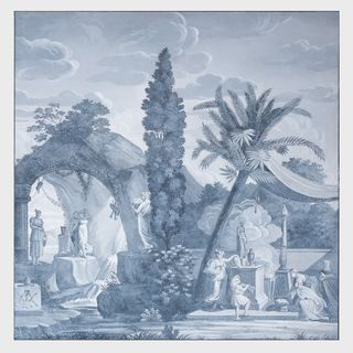 Grisaille Wallpaper Panel, in the Manner of Dufour