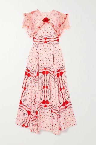 Ruffled Organza-Trimmed Printed Silk Crepe De Chine Dress