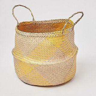 Yellow Checked Seagrass Storage Basket