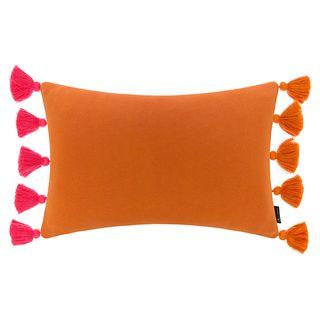 Knitted Pom Pom Trim Cushion – Pink & Orange