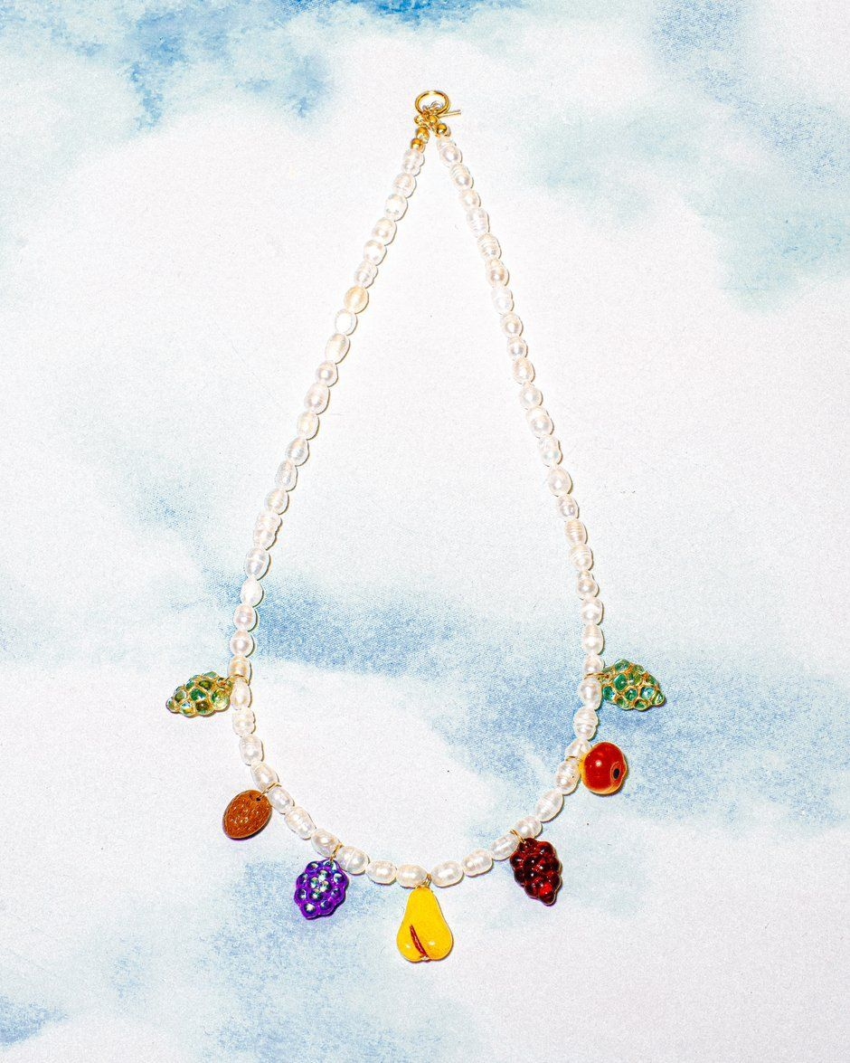 Summer shell and glass bead necklace.