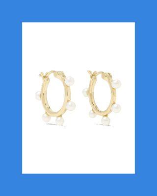 14-Karat Gold Pearl Hoop Earrings