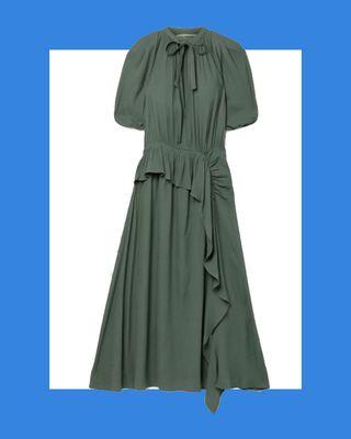 Leah Draped Ruffled Crepe Midi Dress