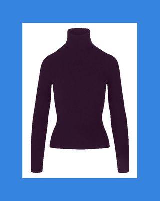 Burgundy Alpaca Wool Turtleneck Sweater