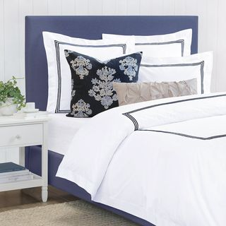Octavia Navy Embroidered Percale Duvet Cover (Queen)