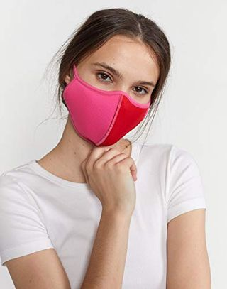 Cynthia Rowley color block face cover in pink / red