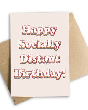 Socially Distant Birthday Card, Pink Or Blue