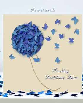 Blue Hydrangea Lockdown Love Card, Butterfly Card