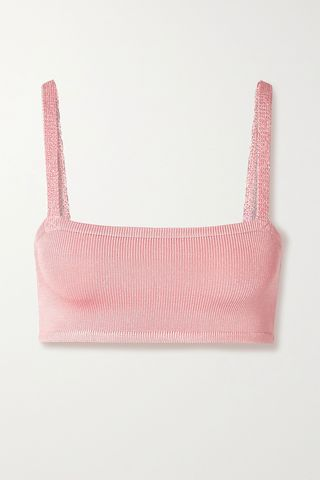 + NET SUSTAIN cropped stretch-knit bra top