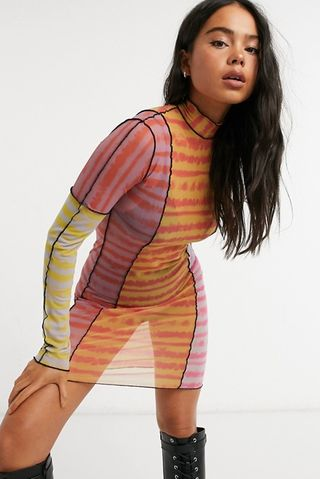 High neck bodycon dress in mixed tie dye print with exposed seams