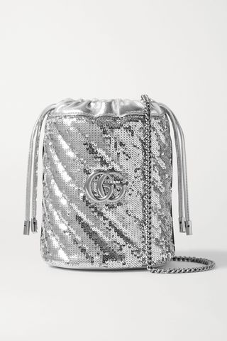GG Marmont mini sequined leather bucket bag