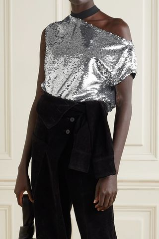 Axel cutout sequined tulle top