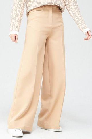 Pocket Detail High Waisted Wide Leg Trousers - Neutral