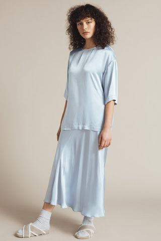 Caro Satin Skirt Powder Blue