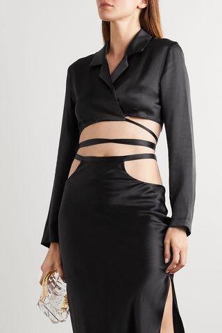 Cropped silk-satin wrap top