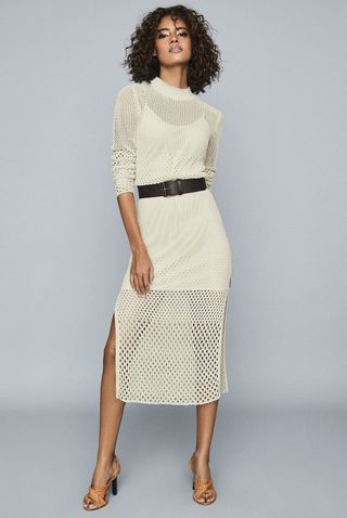 Emmy Neutral Open-Knit Bodycon Dress