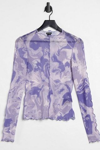 Monki Fairly mesh long sleeved top in blue swirl print
