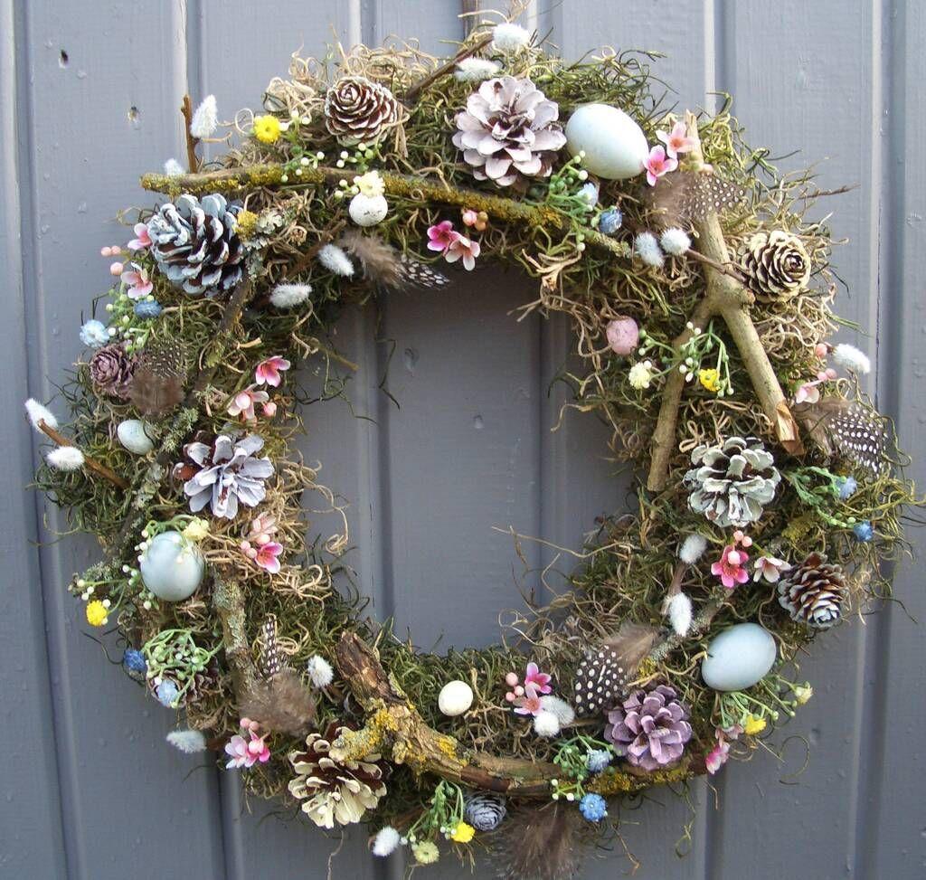 spring decorations Easter wreath spring door wreath natural Easter door decor