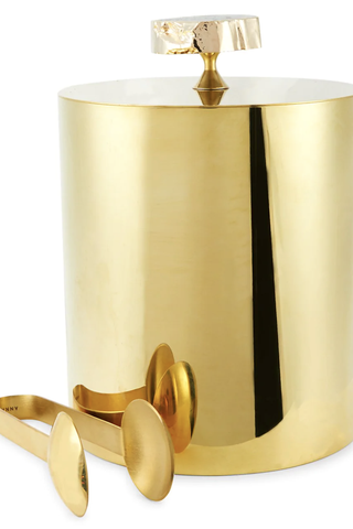 24K Gold Plated Emerald Ice Bucket