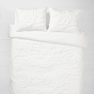 White Boho Rose Comforter and Sham Set