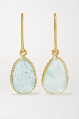 18-karat gold aquamarine earrings