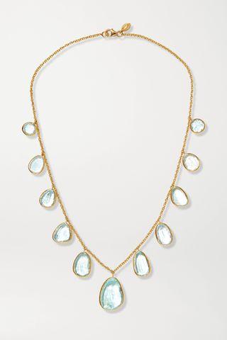 18-karat gold aquamarine necklace