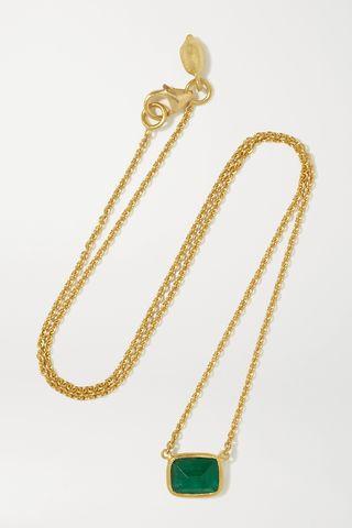18-karat gold emerald necklace