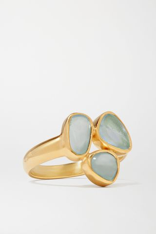 18-karat gold aquamarine ring