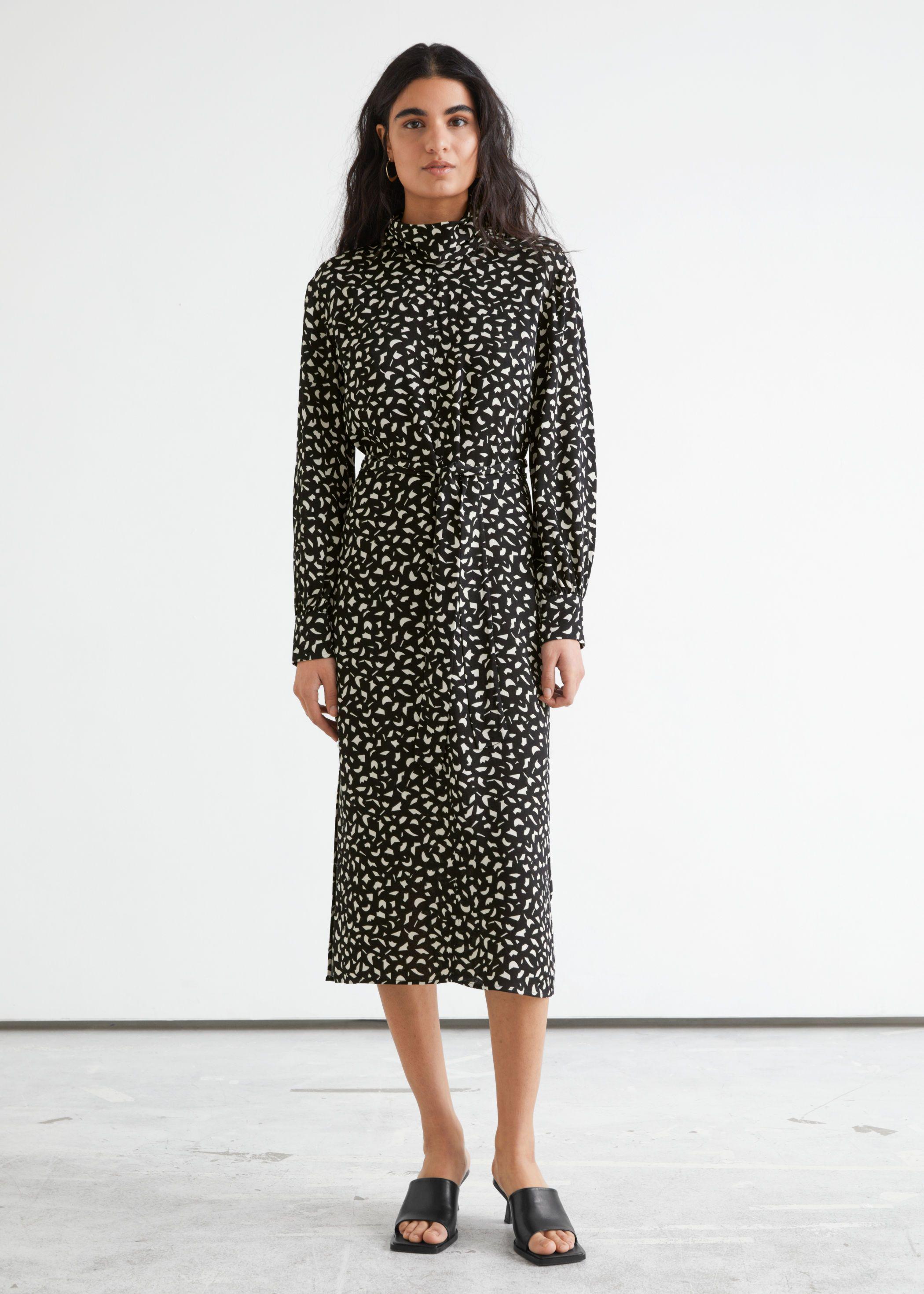 Belted Turtleneck Midi Dress - Best long sleeve dress