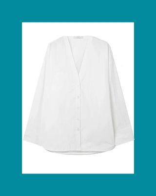 Cotton-Blend Poplin Blouse