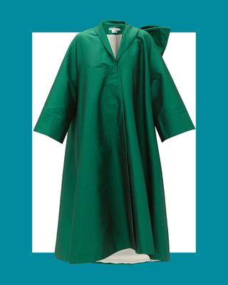 Christian Bow-Back Taffeta Coat