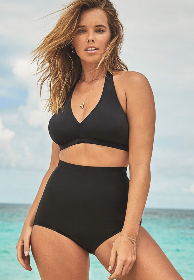 Black Maternity Pregnancy Swimming Costume Tummy Bust Support Swimsuit UK 16