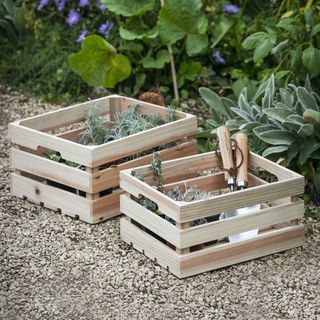 Set of 2 Wooden Storage Boxes, £28