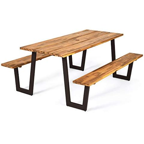 Outdoor Wooden Picnic Tables, Wooden Bench Outdoor Table