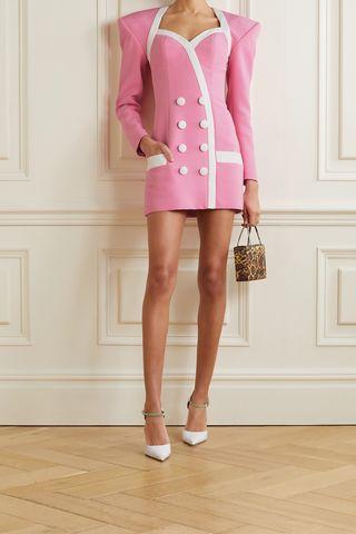 Button-detailed two-tone crepe mini dress