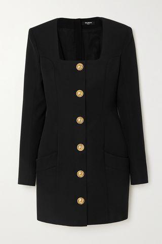Button-embellished grain de poudre wool mini dress
