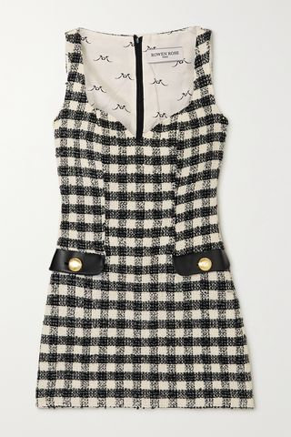 Faux leather-trimmed checked tweed mini dress