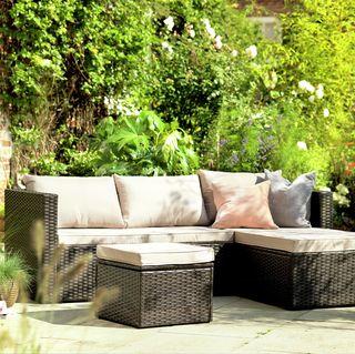 Mini Corner Sofa Set with Storage - Brown