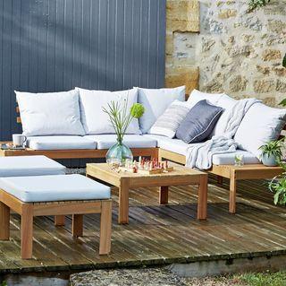 6-Seater Wooden Corner Sofa Set