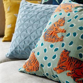 Tiger Cushion, Green / Multi