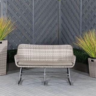 Vasto 2 Seat Rattan Garden Sofa in Grey