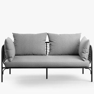 Chevron 2-Seat Garden Sofa, Black/Grey