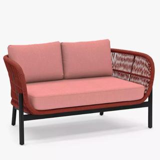 Basket Rope 2-Seat Garden Sofa, Terracotta