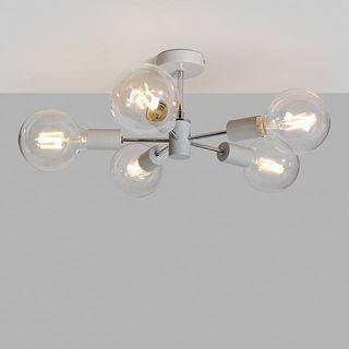Spoke Semi Flush Ceiling Light, Grey/Chrome