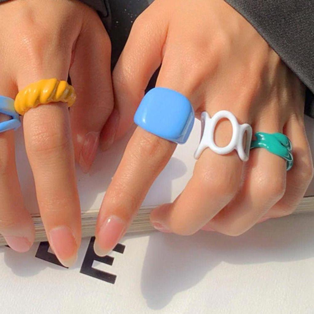 Colorful Enamel Rings Colorful Rings Chunky Rings Chunky Enamel Rings WhitePurpleGreenBlue Enamel Rings Gold Enamel Rings Gold Open Ring