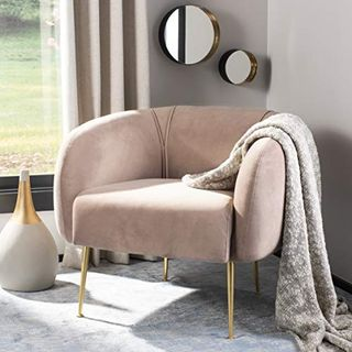 Couture Home Alena Mid-Century Pale Mauve and Gold Chair