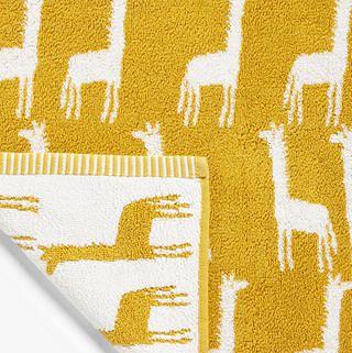 Giraffes Terry Cotton Bath Mat, Mustard