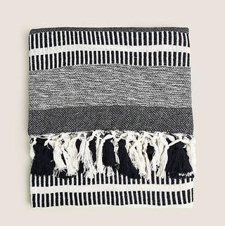 Cotton Mix Woven Monochrome Stripe Throw