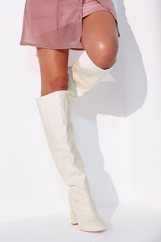 Cream Faux Leather Croc Knee High Block Heel Boots